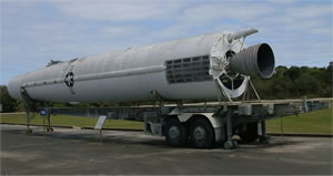 A Thor in USAF markings on its transporter/erector/launcher (TEL) trailer, US SMM, Cape Canaveral AFB Florida